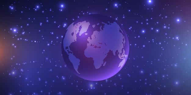 Globo flotando rodeado de estrellas