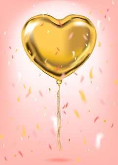 Globo de la forma del corazón de la hoja de oro
