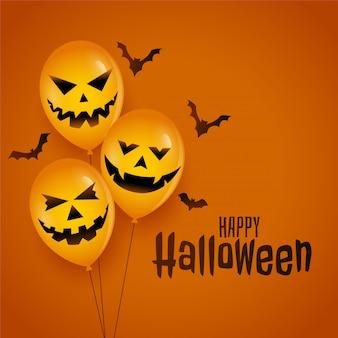 Globo de halloween con caras de miedo y fondo de murciélagos