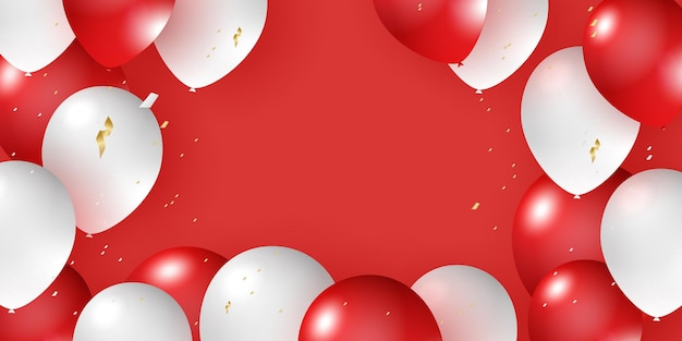 Globo de helio realista rojo blanco diseño 3d para decorar festivales festivalsparties celebración b ...