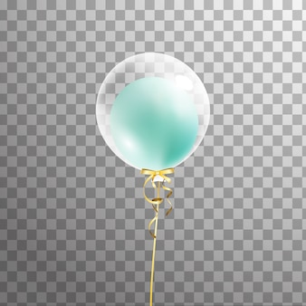 Globo de helio transparente blanco con globo verde interior aislado en el aire. decoraciones de fiesta para cumpleaños, aniversario, celebración. brillo globo transparente.
