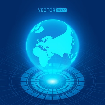 Globo holográfico con continentes contra el fondo abstracto azul oscuro con círculos y fuente de luz