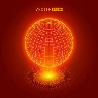 Globo holográfico contra el fondo abstracto rojo con círculos y fuente de luz