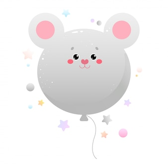 Globo kawaii cute mouse, rata. animal aislado