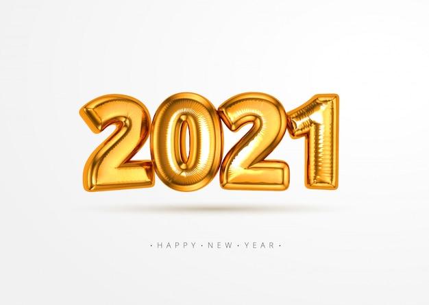Globo de lámina de oro 3d 2021 realista volando en el aire aislado sobre fondo blanco. concepto de diseño para navidad y año nuevo elemento de decoración o pancarta, póster, tarjeta de felicitación