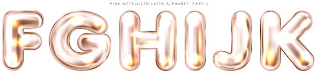 Globo de lámina rosa perl, símbolos inflados del alfabeto fghijk