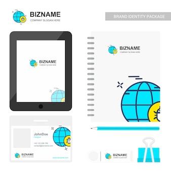 Globo logo y artículos estacionarios
