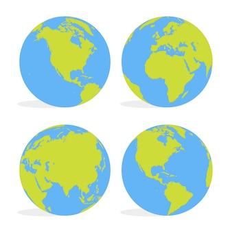 Globo de mapa mundial de dibujos animados verde y azul conjunto ilustración vectorial