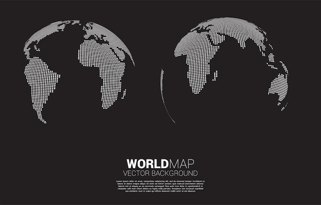 Globo mapa del mundo 3d de píxeles cuadrados.