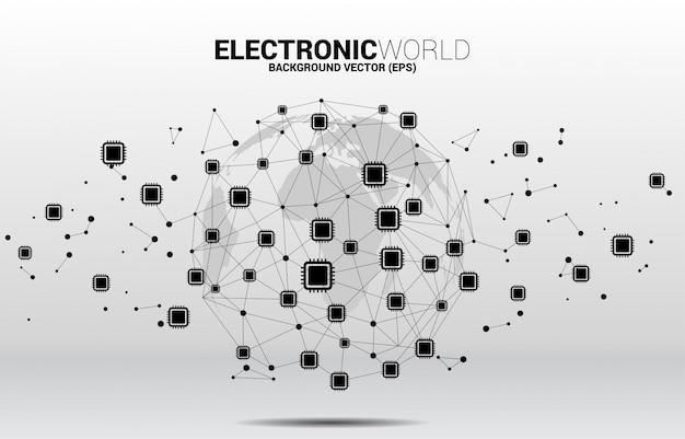 Globo del mundo con el icono de la cpu línea de puntos de polígono conectado. concepto para la tecnología de procesador global.