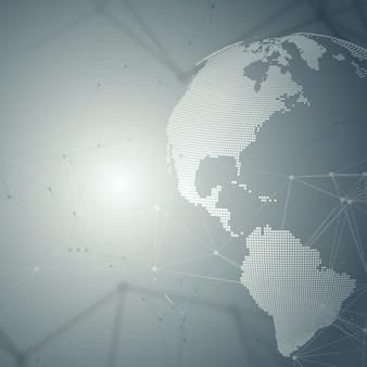 Globo del mundo punteado con química con líneas y puntos de conexión.