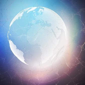 Globo del mundo sobre fondo oscuro con líneas y puntos de conexión