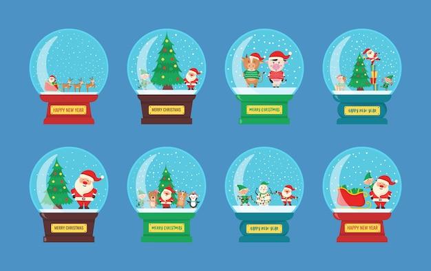 Globo de navidad de cristal con paisaje de invierno y nieve en estilo plano