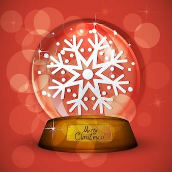 Globo de nieve de navidad con copo de nieve