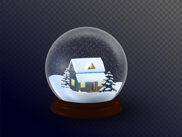 Globo de nieve con un pueblo. todos los elementos y texturas son objetos individuales.