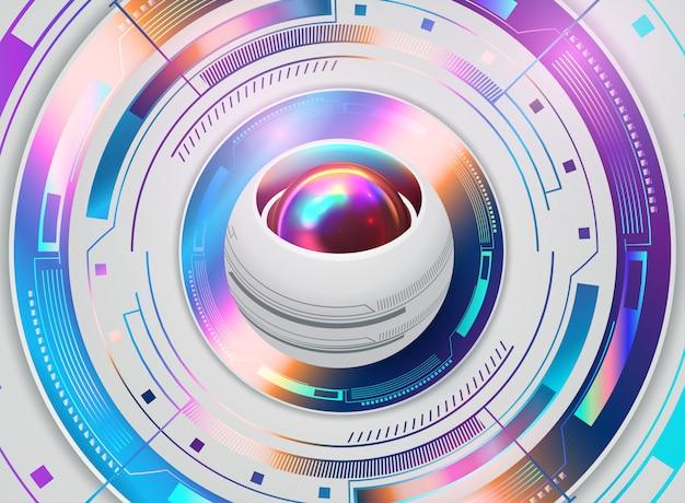 Globo ocular futurista abstracto en la placa de circuito, alta tecnología informática