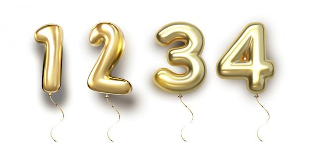 Globo de oro set 1, 2, 3, 4 de globo de renderizado realista en 3d. colección de globos número listo para usar para una decoración única con varias ideas conceptuales en cualquier ocasión