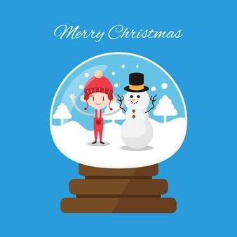 Globo de paisaje de invierno de navidad con niño de navidad y muñeco de nieve