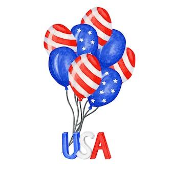 Globo patriótico. cuatro de julio fiesta de celebración de américa globos de acuarela día de la independencia de la decoración de estados unidos. blue red stars raya banderas estadounidenses en forma de globos