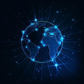Globo de planeta tierra poligonal brillante futurista brillante