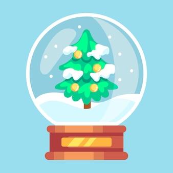 Globo plano de bola de nieve navideña