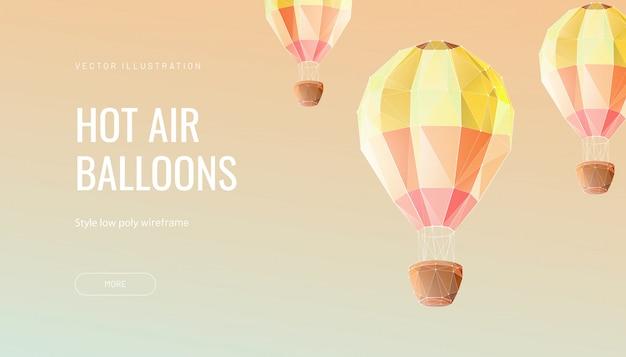 Globo poligonal. concepto de vuelo, viaje o aventura.