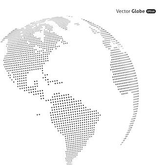 Globo punteado abstracto, vistas de calefacción central sobre américa del norte y del sur