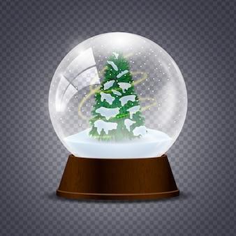 Globo realista de bola de nieve de navidad
