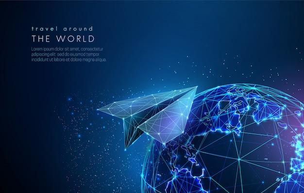 Globo terráqueo abstracto con avión de papel digital.