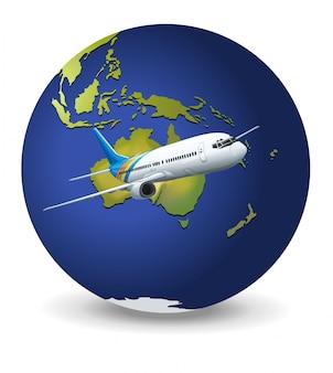 Globo terráqueo y avión