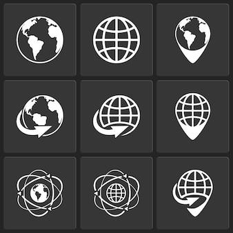 Globo terráqueo mundo iconos vector blanco sobre negro