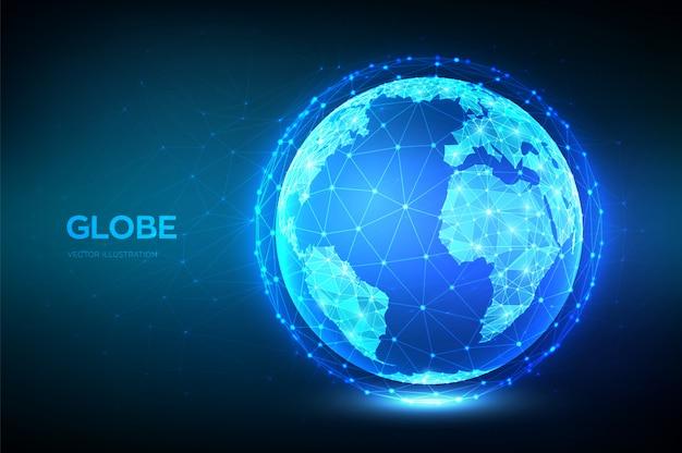 Globo terráqueo. resumen planeta poligonal bajo. conexión de red global.