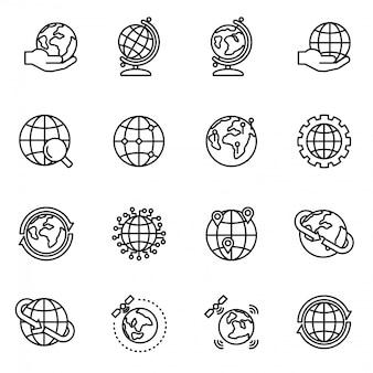 Globo y tierra geografía gráfica conjunto de iconos. cartografía del planeta tierra.