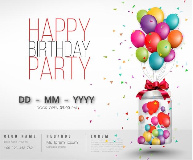 Globo tipografía feliz cumpleaños