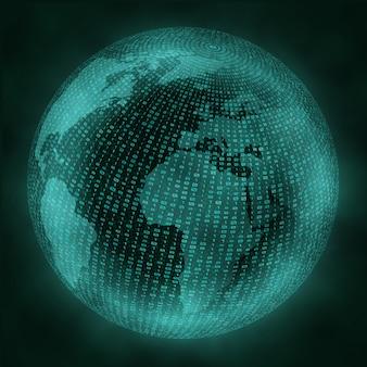 Globo virtual con código binario.