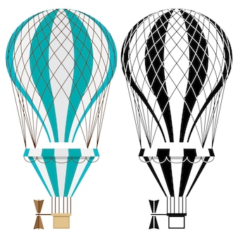 Globos aerostáticos. aerostato colorido y blanco y negro sobre fondo blanco.