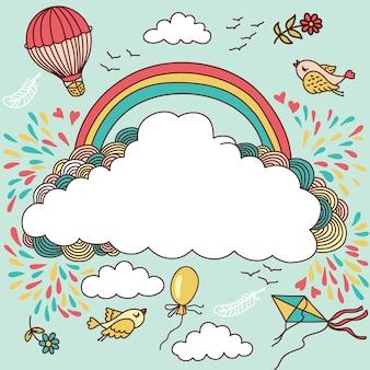 Globos aerostáticos, pájaros, nubes y arcoiris. ilustración con lugar para su texto