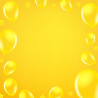 Globos de aire amarillos. fondo de mensaje de redes sociales. copiar espacio para un texto