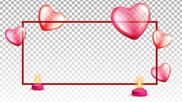 Globos de aire, velas encendidas y vector de marco
