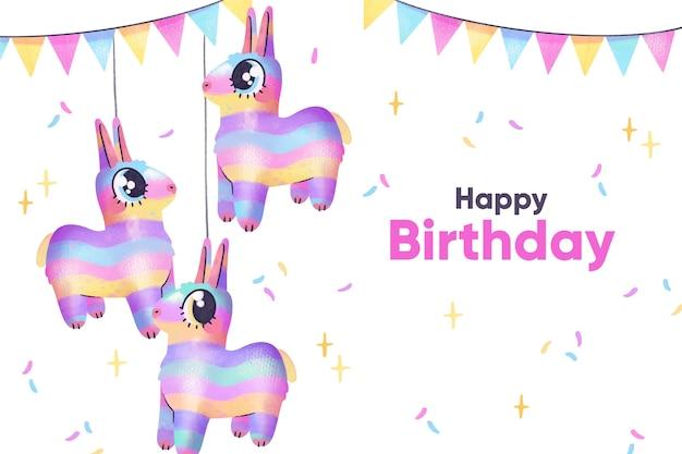 Globos animales de fondo de cumpleaños acuarela