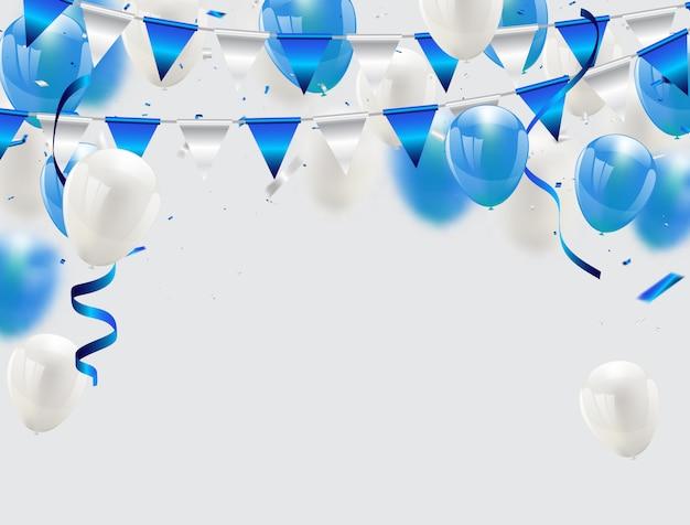 Globos azules confeti y cintas fondo celebración