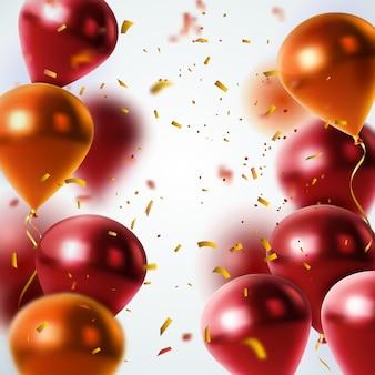 Globos brillantes y fondo de confeti