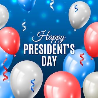 Globos y cintas para el día del presidente.