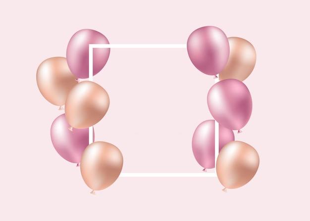 Globos de color rosa, fiesta, cumpleaños. ilustración de una tarjeta en blanco con globos rosas