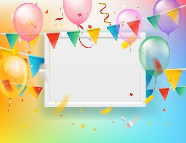 Globos de colores y banderas y confeti con marco blanco en blanco. plantilla de tarjeta de felicitación