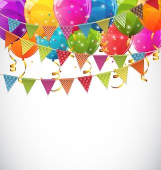 Globos de colores brillantes y banderas de fiesta fondo vector illustra