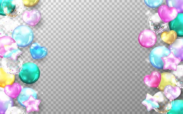 Globos de colores brillantes realistas aislados en transparente