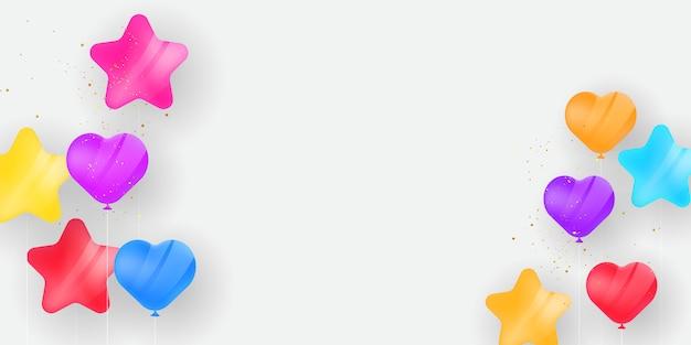 Globos de colores dulces, confeti concepto diseño plantilla vacaciones feliz día, celebración de fondo.