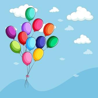 Globos de colores flotando en el cielo