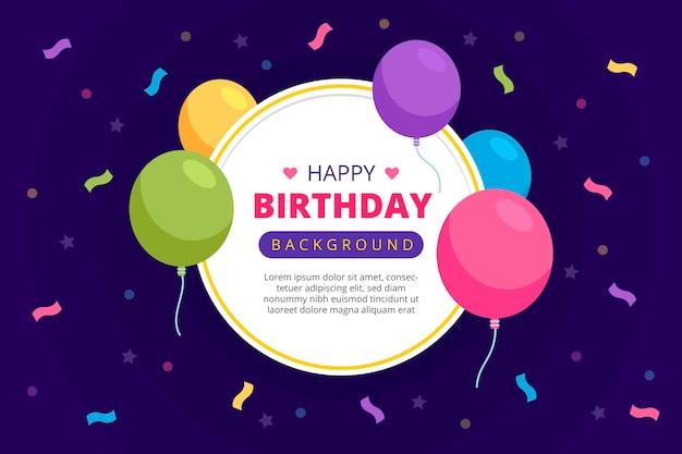 Globos de colores y fondo de confeti de cumpleaños